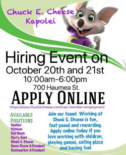 Chuck E Cheese Coming To Kapolei Employment Opportunities